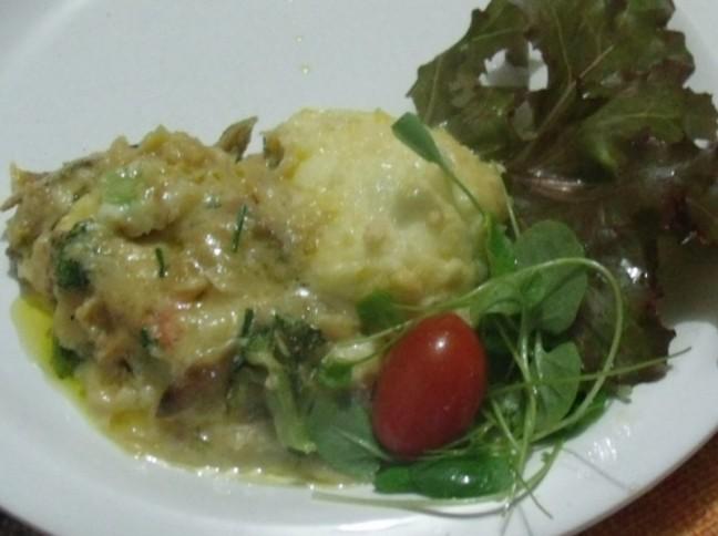 Bacalhau Gratinado com Cenoura e Brócolis